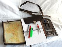 Free Cartographer Mapmaker Geographer Bag Leather With Pencils Royalty Free Stock Photos - 153573918