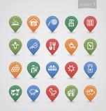 Cartographie de la partie de ferme d'icônes de goupilles Image stock