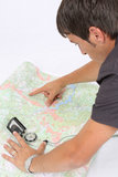 Cartography. Cartographer using compass and GPS isolated Royalty Free Stock Photos