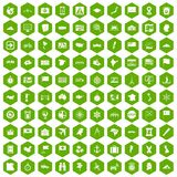 100 cartography icons hexagon green. 100 cartography icons set in green hexagon isolated vector illustration Stock Photo