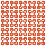100 cartography icons hexagon orange. 100 cartography icons set in orange hexagon isolated vector illustration Royalty Free Stock Images