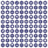 100 cartography icons hexagon purple Stock Photography