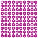 100 cartography icons hexagon violet. 100 cartography icons set in violet hexagon isolated vector illustration Stock Photos