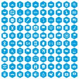 100 cartography icons set blue. 100 cartography icons set in blue hexagon isolated vector illustration Vector Illustration