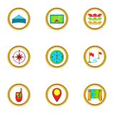 Cartography icons set, cartoon style Royalty Free Stock Image