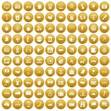 100 cartography icons set gold. 100 cartography icons set in gold circle isolated on white vectr illustration Vector Illustration
