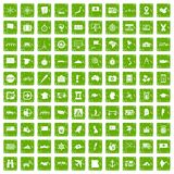 100 cartography icons set grunge green Stock Images