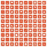 100 cartography icons set grunge orange. 100 cartography icons set in grunge style orange color isolated on white background vector illustration Royalty Free Stock Photo