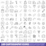 100 cartography icons set, outline style. 100 cartography icons set in outline style for any design vector illustration Royalty Free Illustration
