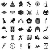 Cartography icons set, simple style. Cartography icons set. Simple set of 36 cartography vector icons for web isolated on white background Stock Image