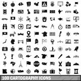 100 cartography icons set, simple style. 100 cartography icons set in simple style for any design vector illustration Royalty Free Stock Photo