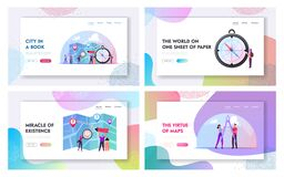 Free Cartography Landing Page Template Set. Tiny Characters With Huge Compass, Divider And Pen Planning Route On Map Stock Image - 188012701