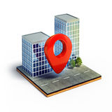 Cartography pin on cross section of isometric city Stock Photography