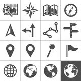 Cartography and topography vector icons. Cartography and topography icon set. Maps, location and navigation icons. Vector illustration. Simplus series Royalty Free Stock Photos