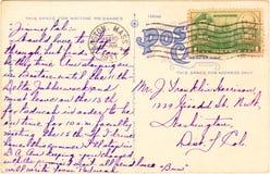 Cartolina - 1937 Fotografie Stock Libere da Diritti