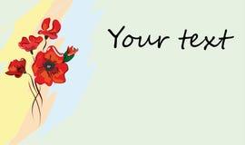 Cartolina, biglietto da visita con i papaveri Immagini Stock