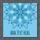Cartolina blu della mandala Fotografie Stock Libere da Diritti