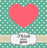 Cartolina con cuore e testo rosa Retro stile Fotografie Stock