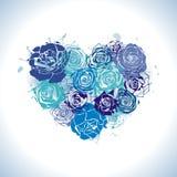 Cartolina con cuore floreale Fotografia Stock