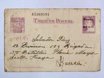 Cartolina con due bolli della Repubblica Guerra civile spagnola fotografia stock libera da diritti