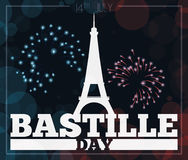 Cartolina con i fuochi d'artificio, illustrazione di celebrazione di giorno di Bastille di vettore illustrazione vettoriale