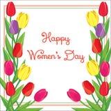Cartolina con i tulipani colorati Illustrazione di vettore Immagini Stock