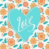 Cartolina con il cuore del turchese su floreale bianco Immagini Stock Libere da Diritti