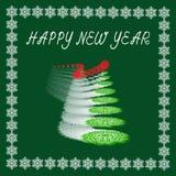 Cartolina con il nuovo anno Albero di Natale dai fiocchi di neve Fotografia Stock