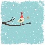Cartolina con l'uccello Fotografia Stock