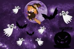 Cartolina con la festa di Halloween illustrazione vettoriale
