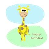 Cartolina con la giraffa sveglia. illustrazione di vettore Immagini Stock Libere da Diritti