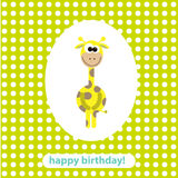 Cartolina con la giraffa sveglia. illustrazione di vettore Fotografie Stock
