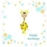 Cartolina con la giraffa sveglia. illustrazione di vettore Immagini Stock