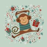 Cartolina con la scimmia, illustrazioni Fotografie Stock