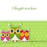 Cartolina con tre gufi Fotografie Stock Libere da Diritti