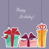 Cartolina con tre regali - illustrazione di buon compleanno Immagine Stock Libera da Diritti
