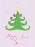 Cartolina con un chrismass-albero. fotografie stock libere da diritti