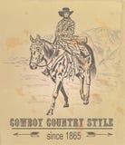 Cartolina con un cowboy nelle montagne Immagine Stock