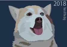 Cartolina con un husky rosso Immagini Stock