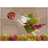 Cartolina con una crisalide della foresta Un modello con una bambina con le foglie cute Principessa su una carta con le mele Autu illustrazione vettoriale