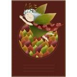 Cartolina con una crisalide di legno Bambina in un cerchio delle foglie Principessa su un fondo rosso royalty illustrazione gratis