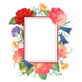 Cartolina con una struttura quadrata delle rose Illustrazione di vettore royalty illustrazione gratis
