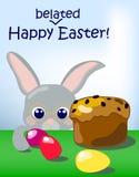 Cartolina, coniglio ed uova in ritardo felici di Pasqua Fotografia Stock