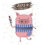 Cartolina creativa per i nuovo 2019 anni con il maiale sveglio Illustrazione illustrazione vettoriale