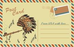 Cartolina d'annata con il tubo di pace tradizionale del nativo americano e Immagine Stock