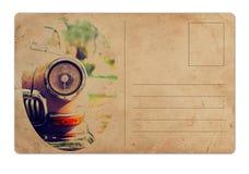 Cartolina d'annata con la retro automobile Immagine Stock