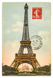 Cartolina d'annata con la torre Eiffel a Parigi fotografia stock