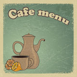 Cartolina d'annata con una tazza di caffè e un limone. Fotografia Stock Libera da Diritti