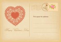 Cartolina d'annata di giorno di biglietti di S. Valentino con il cuore del pizzo Illustrazione di vettore Fotografie Stock