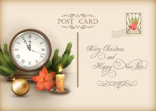Cartolina d'annata di vettore di festa di Natale Fotografie Stock Libere da Diritti